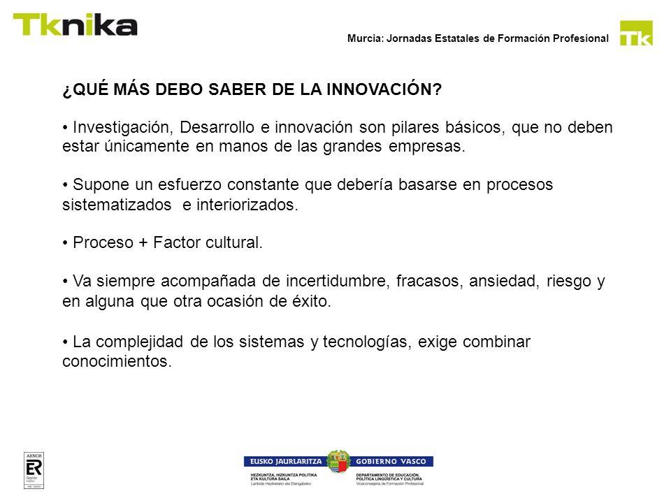 Murcia: Jornadas Estatales de Formación Profesional ¿QUÉ MÁS DEBO SABER DE LA INNOVACIÓN? Investigación, Desarrollo e innovación son pilares básicos,