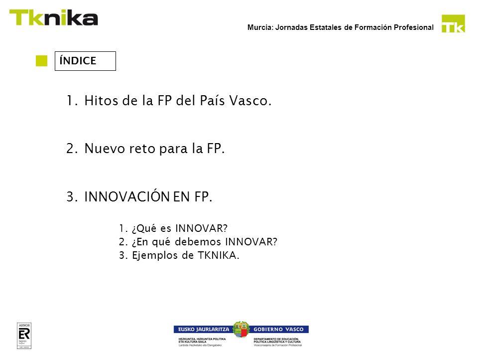 Murcia: Jornadas Estatales de Formación Profesional ÍNDICE 1.Hitos de la FP del País Vasco. 2.Nuevo reto para la FP. 3.INNOVACIÓN EN FP. 1.¿Qué es INN
