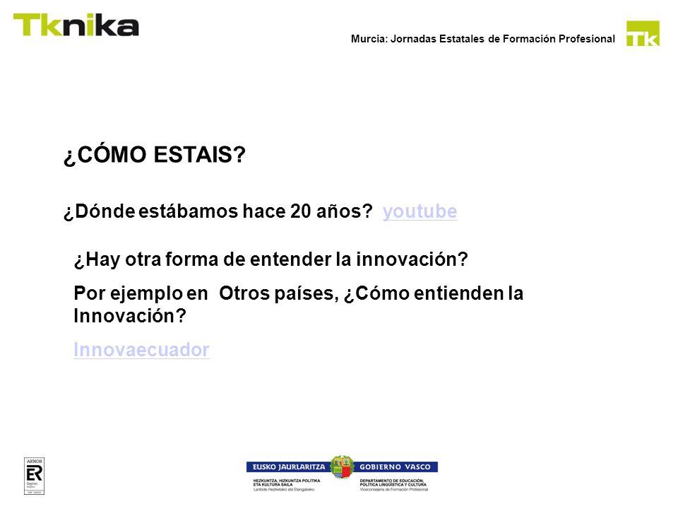 Murcia: Jornadas Estatales de Formación Profesional ¿CÓMO ESTAIS? ¿Dónde estábamos hace 20 años? youtubeyoutube ¿Hay otra forma de entender la innovac