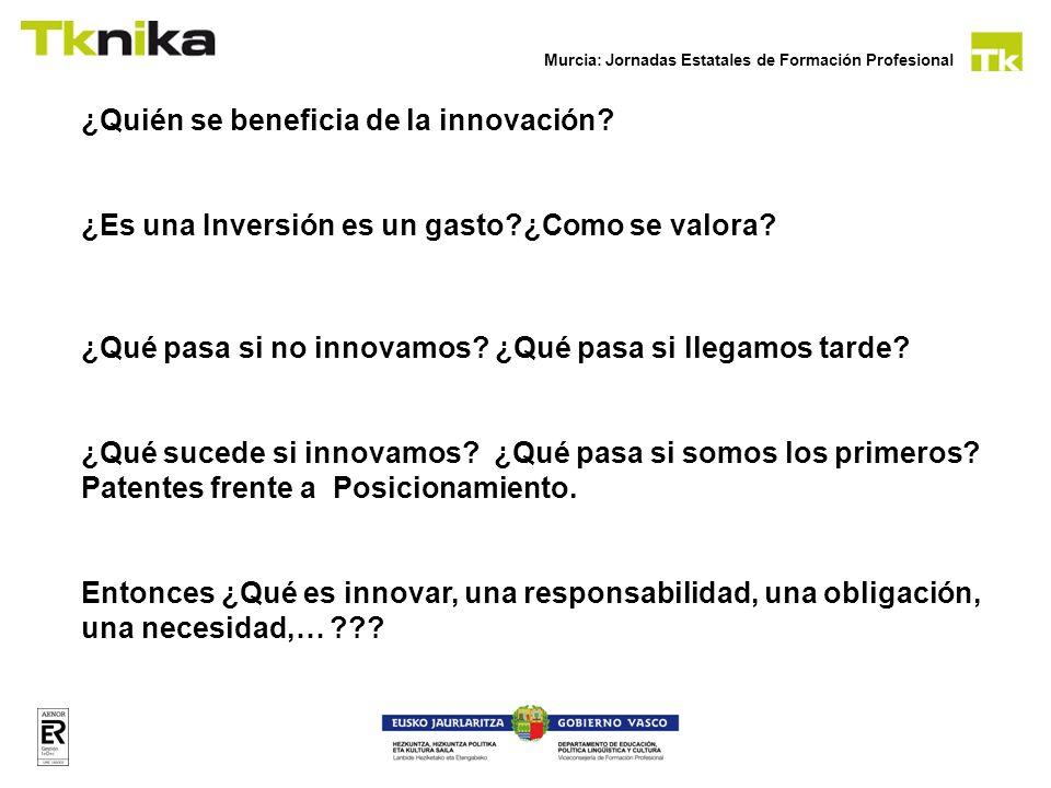 Murcia: Jornadas Estatales de Formación Profesional ¿Quién se beneficia de la innovación? ¿Es una Inversión es un gasto?¿Como se valora? ¿Qué pasa si