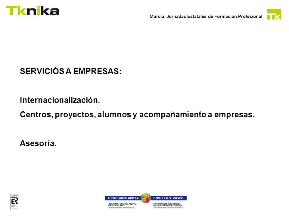 Murcia: Jornadas Estatales de Formación Profesional SERVICIÓS A EMPRESAS: Internacionalización. Centros, proyectos, alumnos y acompañamiento a empresa