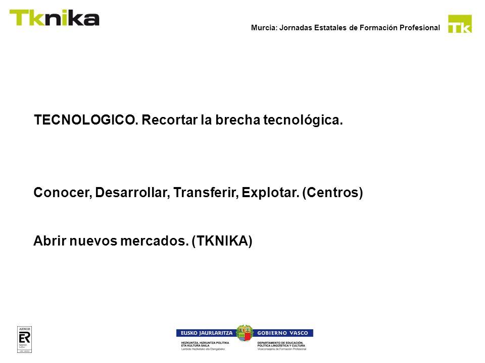 Murcia: Jornadas Estatales de Formación Profesional TECNOLOGICO. Recortar la brecha tecnológica. Conocer, Desarrollar, Transferir, Explotar. (Centros)