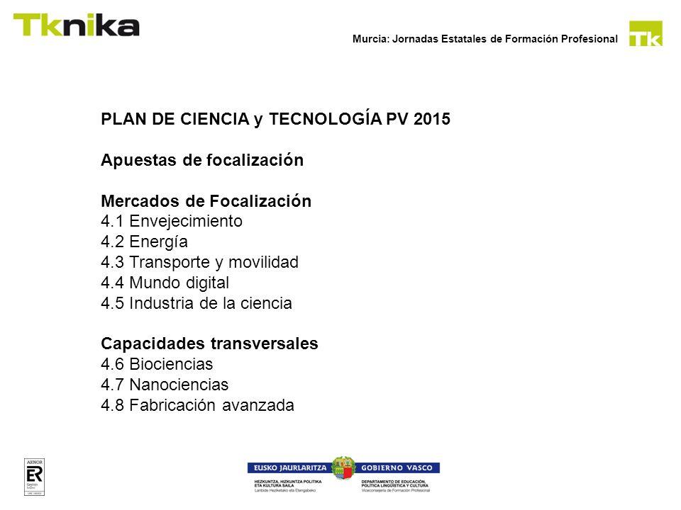 Murcia: Jornadas Estatales de Formación Profesional PLAN DE CIENCIA y TECNOLOGÍA PV 2015 Apuestas de focalización Mercados de Focalización 4.1 Envejec