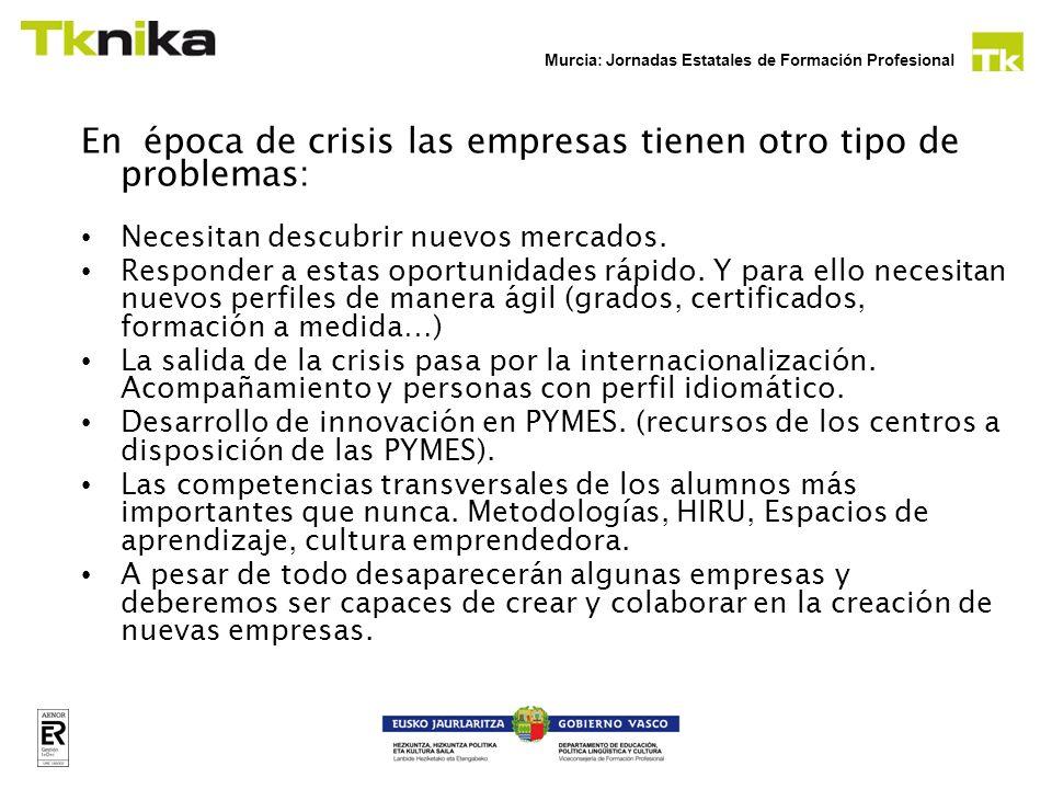 Murcia: Jornadas Estatales de Formación Profesional En época de crisis los jóvenes y desempleados tienen otro tipo de problemas: Necesitan una cualificación o una recualificación que les permita trabajar o crear su empresas.