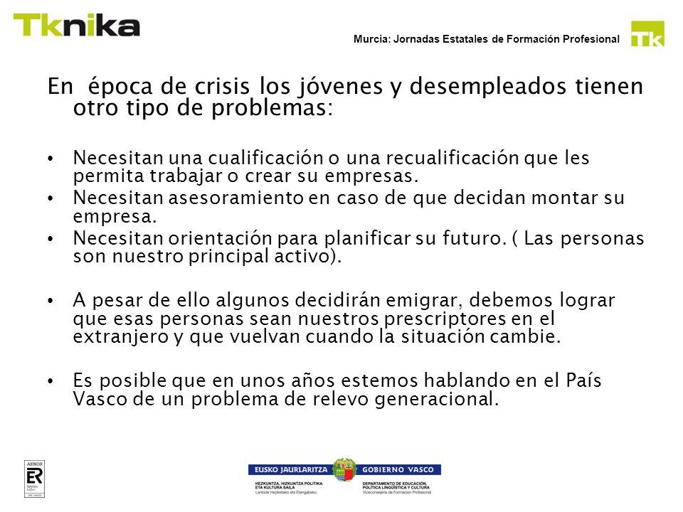 Murcia: Jornadas Estatales de Formación Profesional En época de crisis los jóvenes y desempleados tienen otro tipo de problemas: Necesitan una cualifi