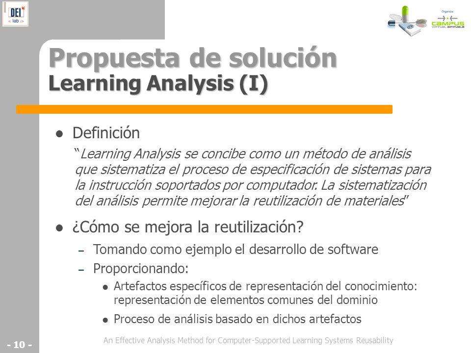 An Effective Analysis Method for Computer-Supported Learning Systems Reusability - 10 - Propuesta de solución Learning Analysis (I) Definición ¿Cómo s
