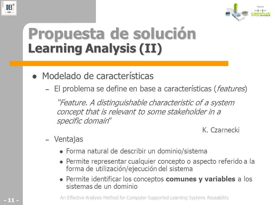 An Effective Analysis Method for Computer-Supported Learning Systems Reusability - 11 - Propuesta de solución Learning Analysis (II) Modelado de carac