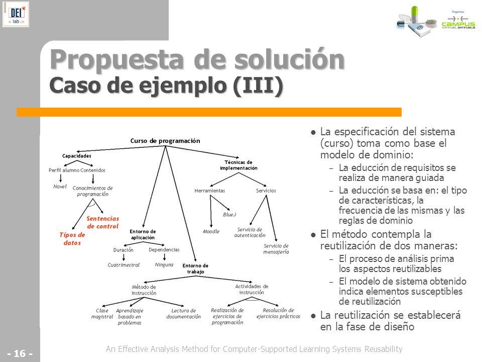 An Effective Analysis Method for Computer-Supported Learning Systems Reusability - 16 - Propuesta de solución Caso de ejemplo (III) La especificación
