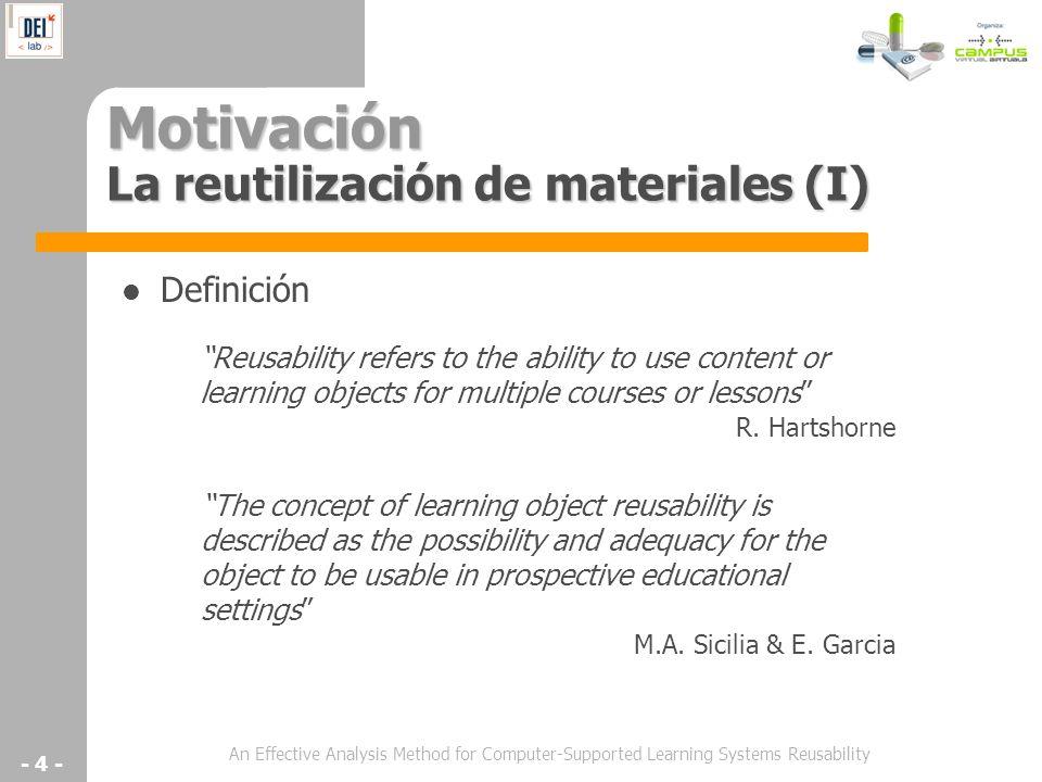 An Effective Analysis Method for Computer-Supported Learning Systems Reusability - 4 - Motivación La reutilización de materiales (I) Definición The co