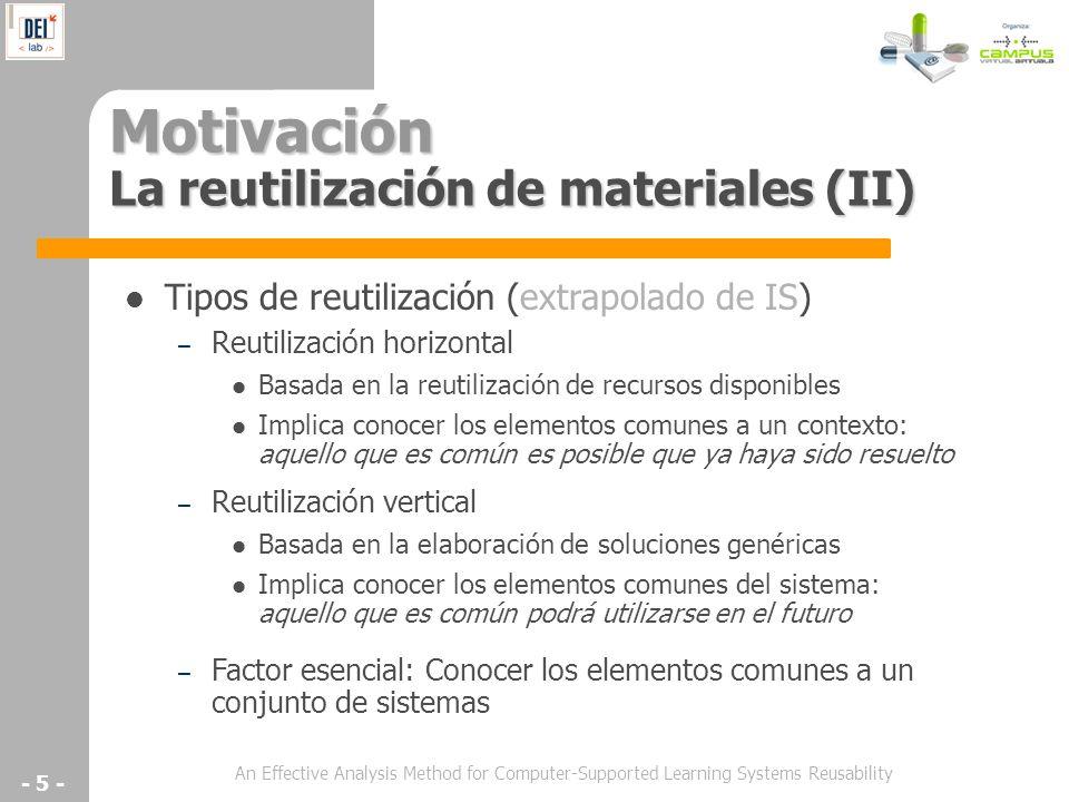 An Effective Analysis Method for Computer-Supported Learning Systems Reusability - 5 - Motivación La reutilización de materiales (II) Tipos de reutili