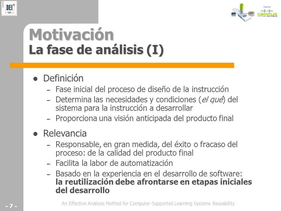 An Effective Analysis Method for Computer-Supported Learning Systems Reusability - 7 - Motivación La fase de análisis (I) Definición – Fase inicial de