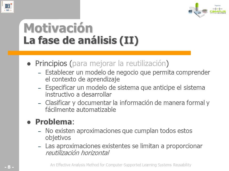 An Effective Analysis Method for Computer-Supported Learning Systems Reusability - 8 - Motivación La fase de análisis (II) Principios (para mejorar la