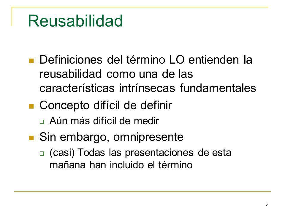 3 Reusabilidad Definiciones del término LO entienden la reusabilidad como una de las características intrínsecas fundamentales Concepto difícil de def