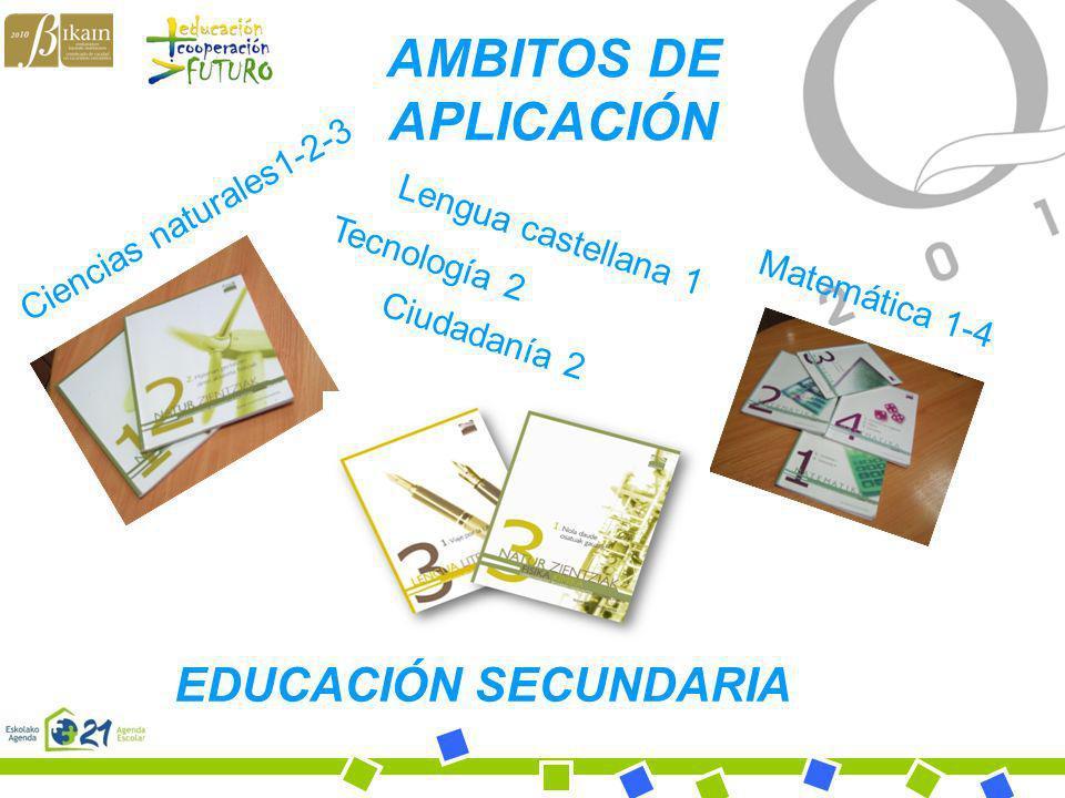 Bihotz Gaztea Ikastola EDUCACIÓN SECUNDARIA Ciencias naturales1-2-3 Matemática 1-4 Lengua castellana 1 Tecnología 2 Ciudadanía 2 AMBITOS DE APLICACIÓN