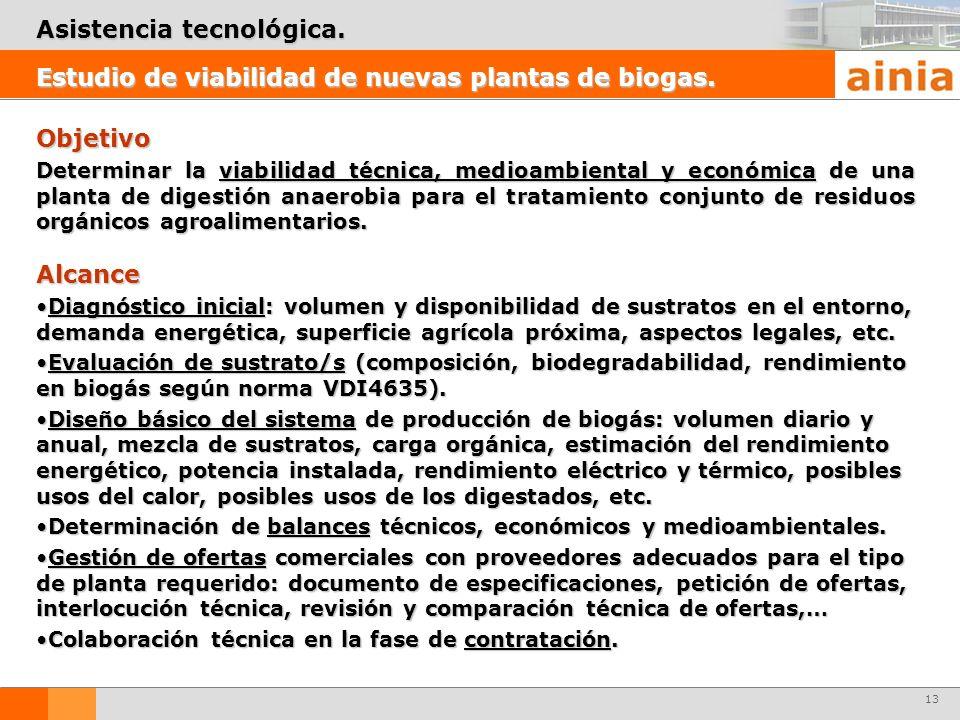 13 Objetivo Determinar la viabilidad técnica, medioambiental y económica de una planta de digestión anaerobia para el tratamiento conjunto de residuos