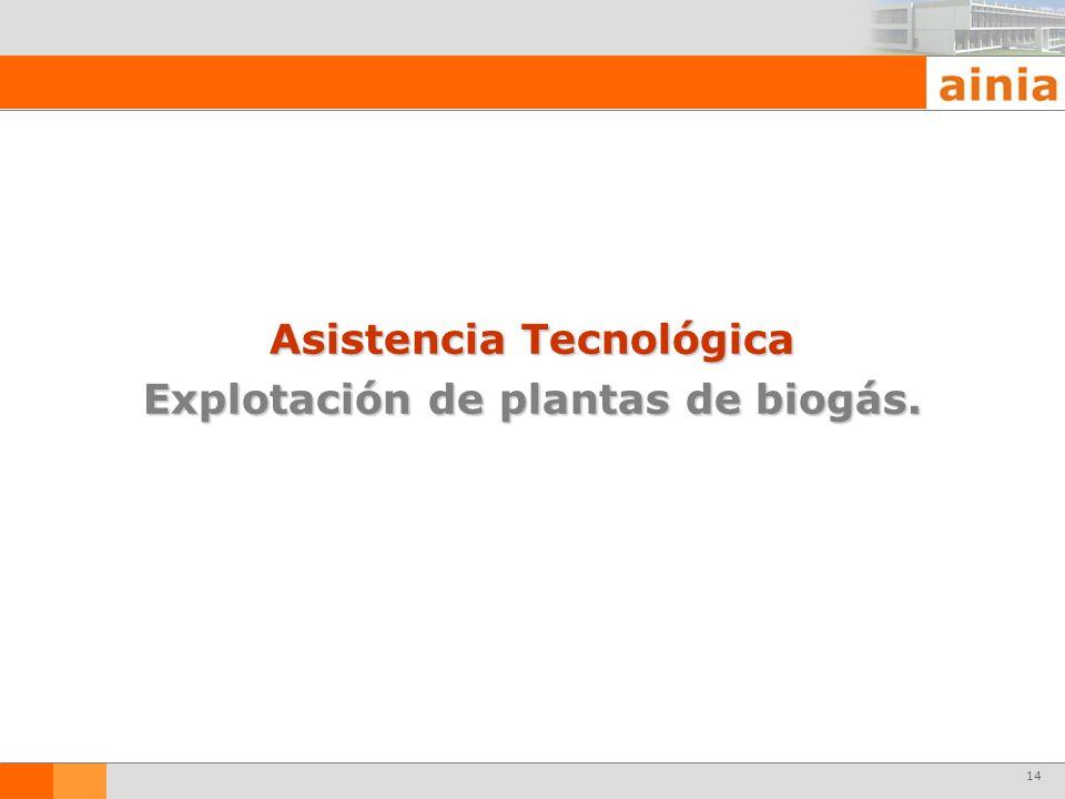 14 Asistencia Tecnológica Explotación de plantas de biogás.