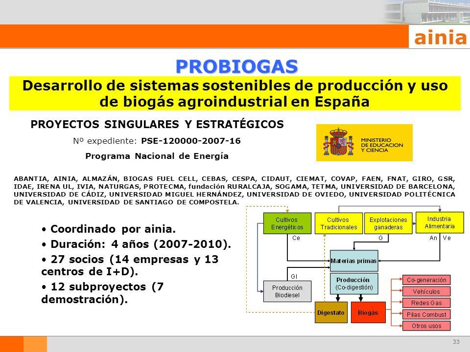 33 PROYECTOS SINGULARES Y ESTRATÉGICOS Nº expediente: PSE-120000-2007-16 Programa Nacional de Energía PROBIOGAS Desarrollo de sistemas sostenibles de