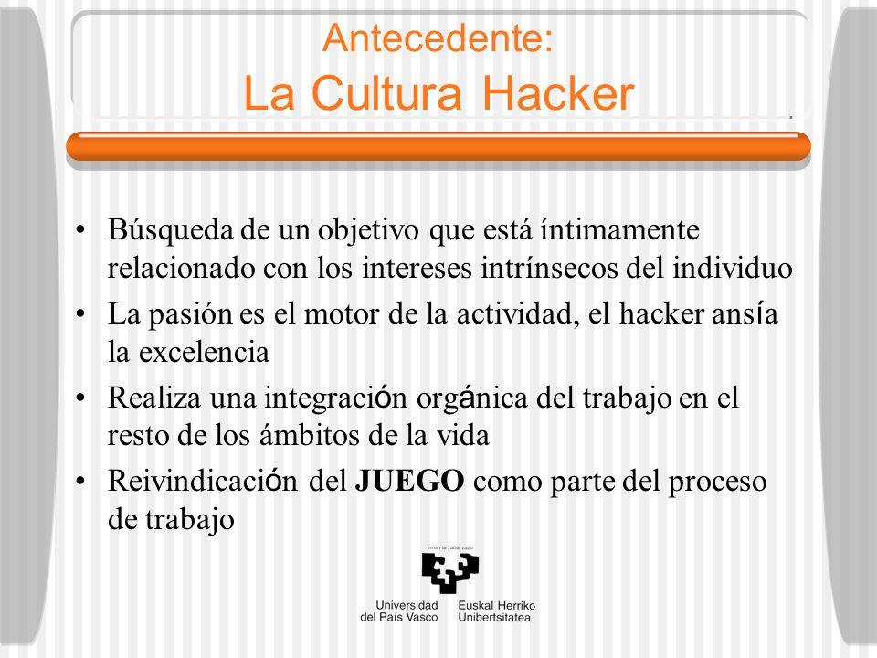 Antecedente: La Cultura Hacker Búsqueda de un objetivo que está íntimamente relacionado con los intereses intrínsecos del individuo La pasión es el mo
