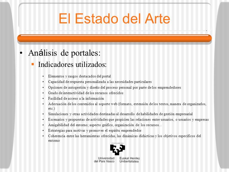 El Estado del Arte An á lisis de portales: Indicadores utilizados: Elementos y rasgos destacados del portal Capacidad de respuesta personalizada a las