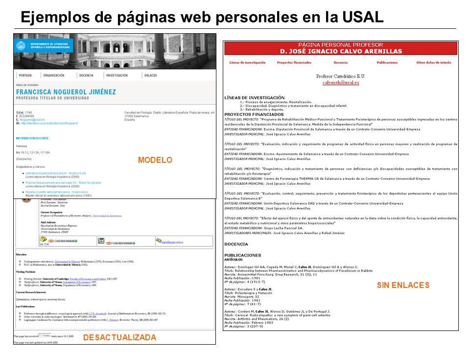 Ejemplos de páginas web personales en la USAL DESACTUALIZADA SIN ENLACES MODELO