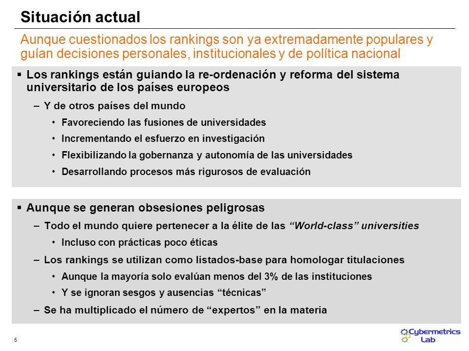 5 Aunque cuestionados los rankings son ya extremadamente populares y guían decisiones personales, institucionales y de política nacional Los rankings