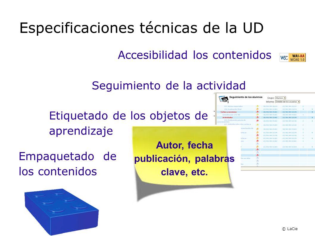 Especificaciones técnicas de la UD Accesibilidad los contenidos Seguimiento de la actividad Etiquetado de los objetos de aprendizaje Empaquetado de lo
