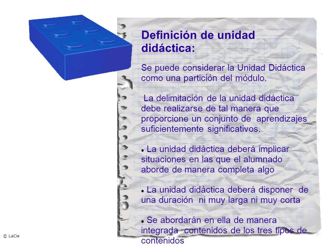 Definición de unidad didáctica: Se puede considerar la Unidad Didáctica como una partición del módulo. La delimitación de la unidad didáctica debe rea