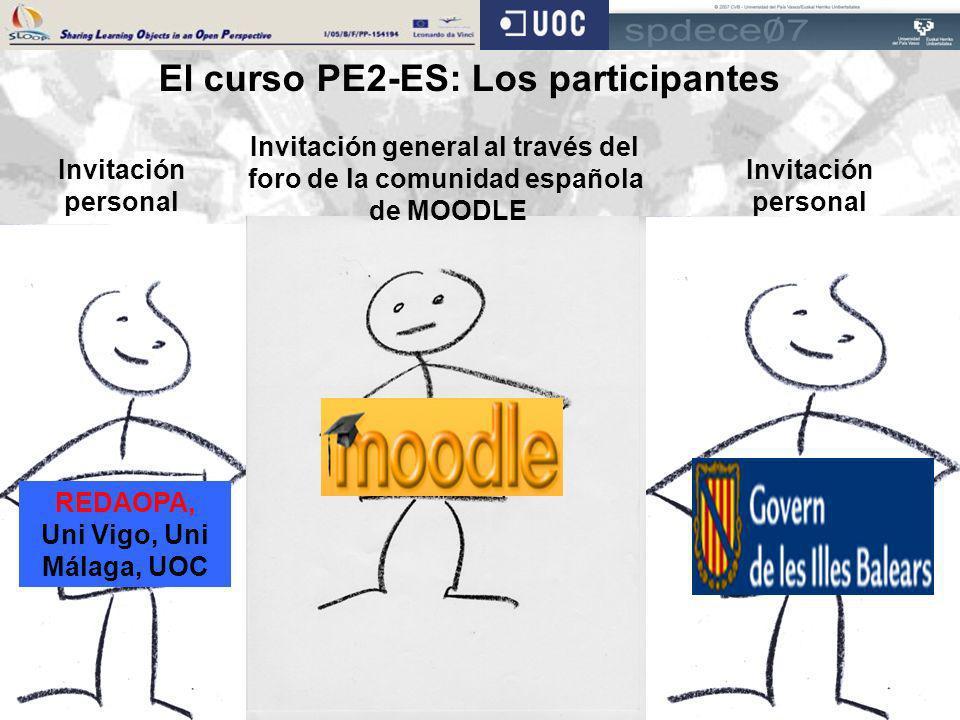 REDAOPA, Uni Vigo, Uni Málaga, UOC Invitación personal Invitación general al través del foro de la comunidad española de MOODLE Invitación personal El