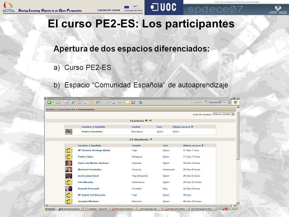 El curso PE2-ES: Los participantes Apertura de dos espacios diferenciados: a)Curso PE2-ES b)Espacio Comunidad Española de autoaprendizaje