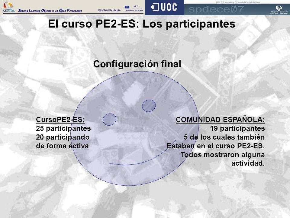 El curso PE2-ES: Los participantes Configuración final CursoPE2-ES: 25 participantes 20 participando de forma activa COMUNIDAD ESPAÑOLA: 19 participan