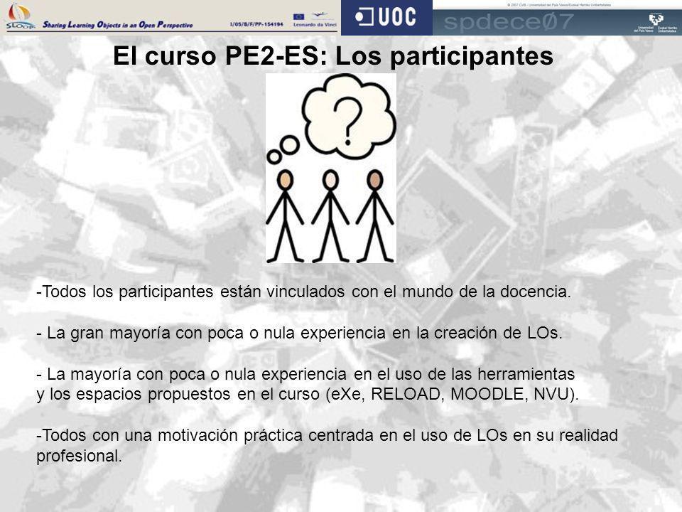 El curso PE2-ES: Los participantes -Todos los participantes están vinculados con el mundo de la docencia. - La gran mayoría con poca o nula experienci
