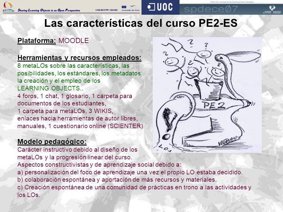 Las características del curso PE2-ES Plataforma: MOODLE Herramientas y recursos empleados: 8 metaLOs sobre las características, las posibilidades, los