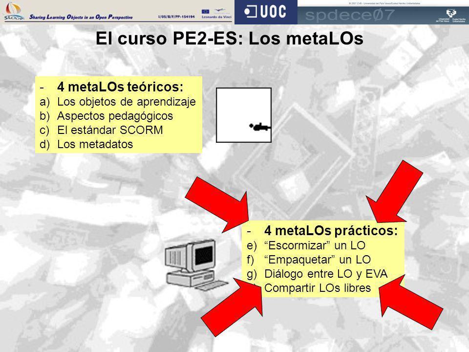 El curso PE2-ES: Los metaLOs -4 metaLOs teóricos: a)Los objetos de aprendizaje b)Aspectos pedagógicos c)El estándar SCORM d)Los metadatos -4 metaLOs p