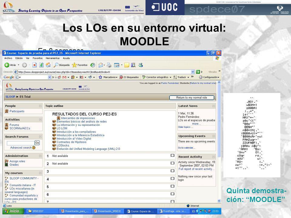 Los LOs en su entorno virtual: MOODLE En 8 semanas… … se trabajaron 8 metaLearningObjects … se entregaron 12 LOs antes de subirlos a un EVA … 9 produc