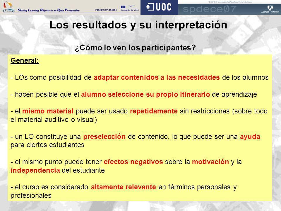 Los resultados y su interpretación ¿Cómo lo ven los participantes? General: - LOs como posibilidad de adaptar contenidos a las necesidades de los alum