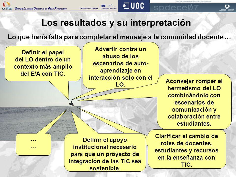 Los resultados y su interpretación Lo que haría falta para completar el mensaje a la comunidad docente … Advertir contra un abuso de los escenarios de