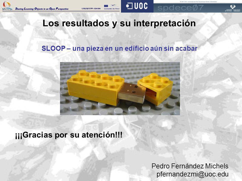 Los resultados y su interpretación SLOOP – una pieza en un edificio aún sin acabar ¡¡¡Gracias por su atención!!! Pedro Fernández Michels pfernandezmi@