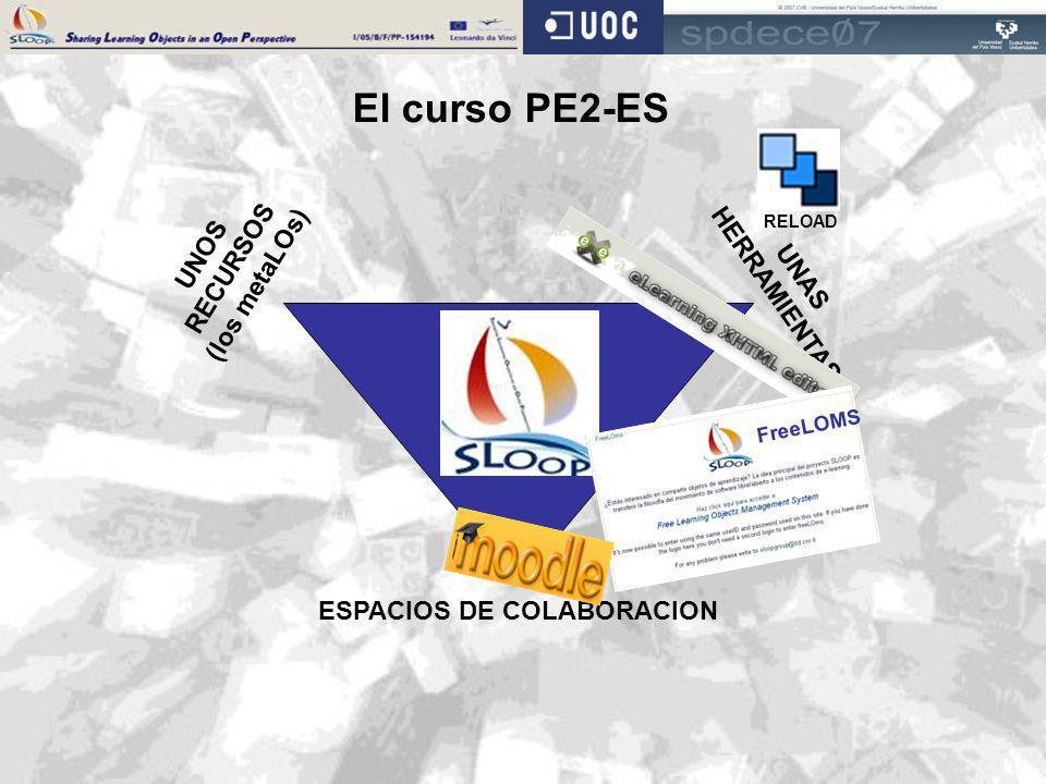 UNAS HERRAMIENTAS ESPACIOS DE COLABORACION UNOS RECURSOS (los metaLOs) El curso PE2-ES RELOAD FreeLOMS