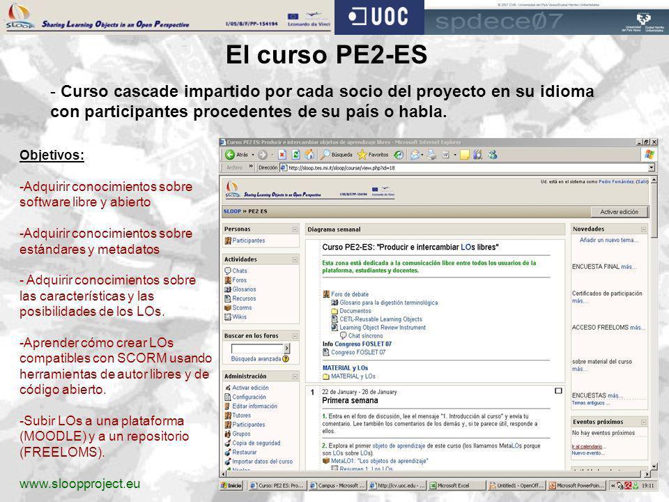 El curso PE2-ES - Curso cascade impartido por cada socio del proyecto en su idioma con participantes procedentes de su país o habla. Objetivos: -Adqui