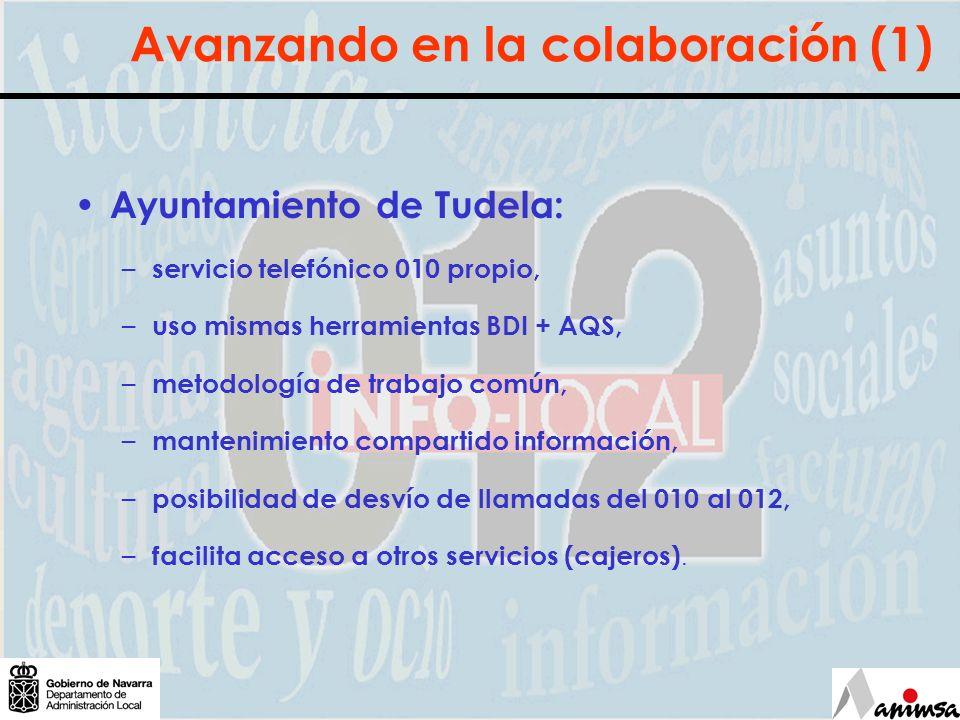 Avanzando en la colaboración (1) Ayuntamiento de Tudela: – servicio telefónico 010 propio, – uso mismas herramientas BDI + AQS, – metodología de traba