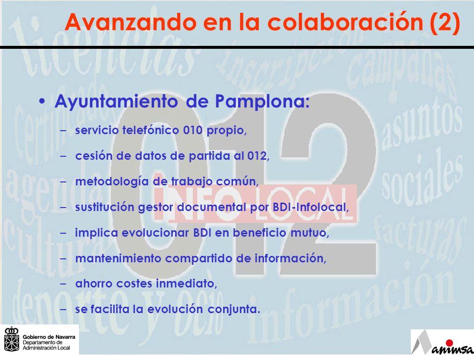 Avanzando en la colaboración (2) Ayuntamiento de Pamplona: – servicio telefónico 010 propio, – cesión de datos de partida al 012, – metodología de tra