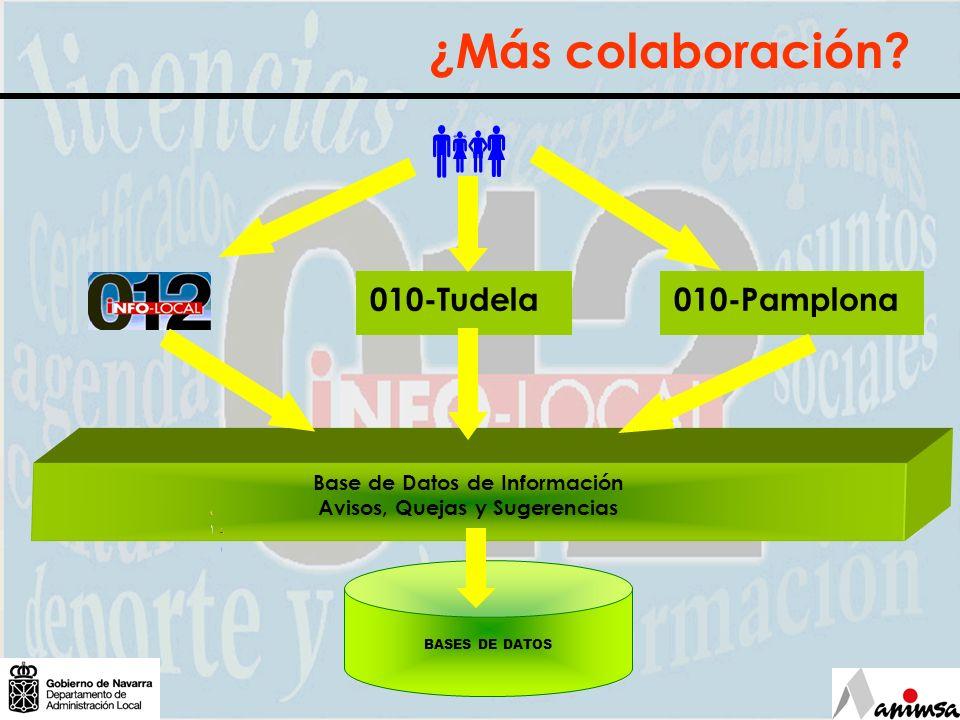 Base de Datos de Información Avisos, Quejas y Sugerencias ¿Más colaboración? BASES DE DATOS 010-Tudela010-Pamplona