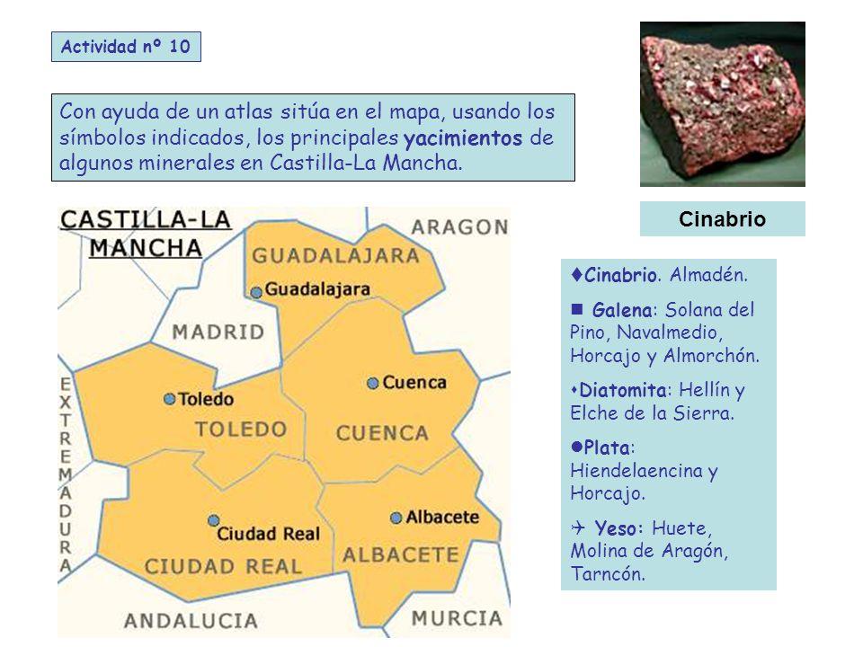Con ayuda de un atlas sitúa en el mapa, usando los símbolos indicados, los principales yacimientos de algunos minerales en Castilla-La Mancha.