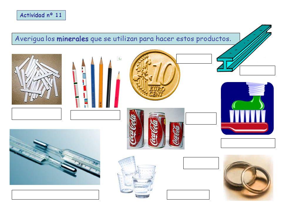 Averigua los minerales que se utilizan para hacer estos productos. Actividad nº 11