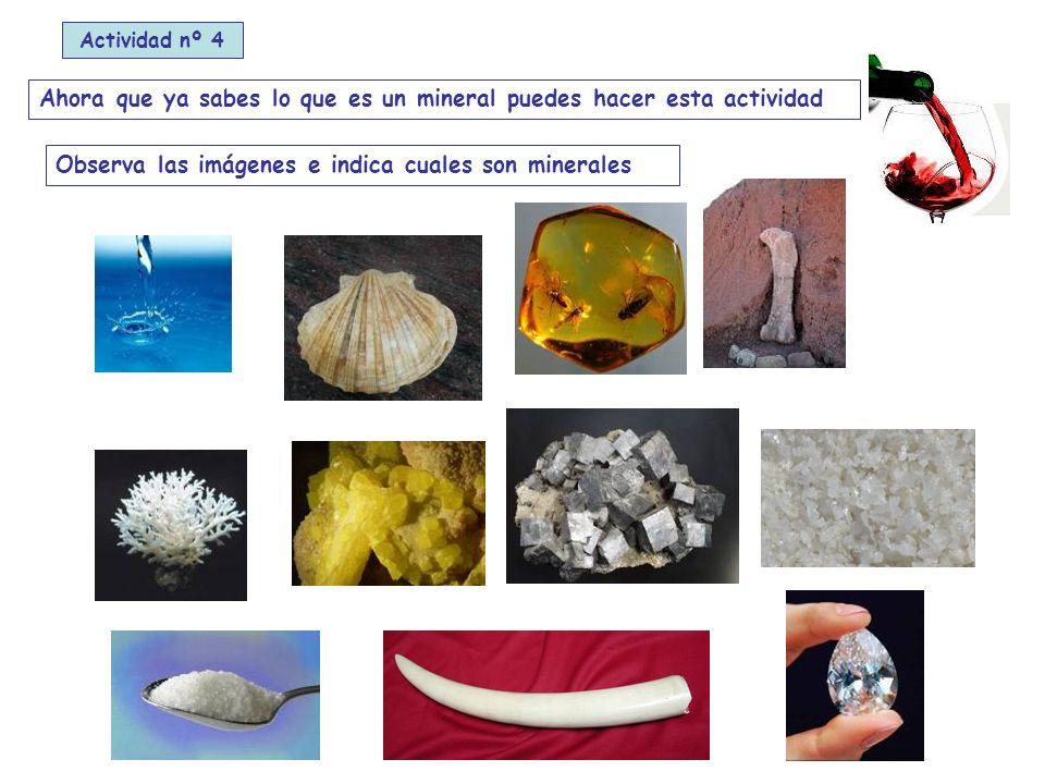 Ahora que ya sabes lo que es un mineral puedes hacer esta actividad Observa las imágenes e indica cuales son minerales Actividad nº 4
