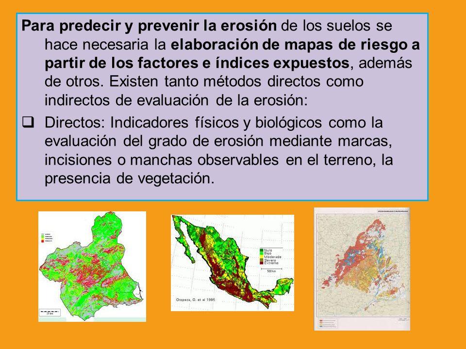 Para predecir y prevenir la erosión de los suelos se hace necesaria la elaboración de mapas de riesgo a partir de los factores e índices expuestos, ad