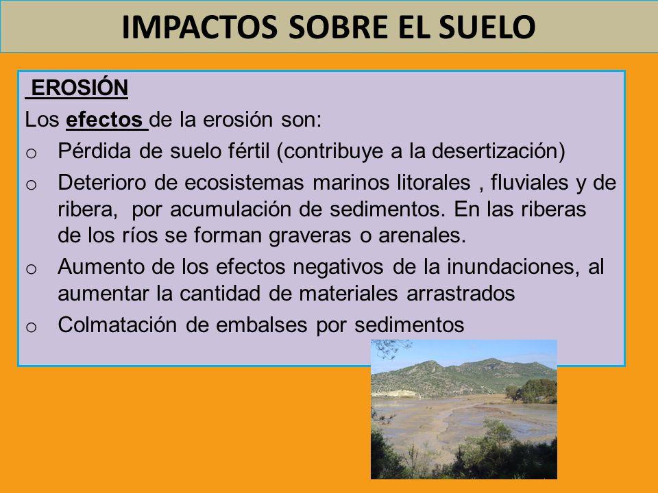 IMPACTOS SOBRE EL SUELO EROSIÓN Los efectos de la erosión son: o Pérdida de suelo fértil (contribuye a la desertización) o Deterioro de ecosistemas ma