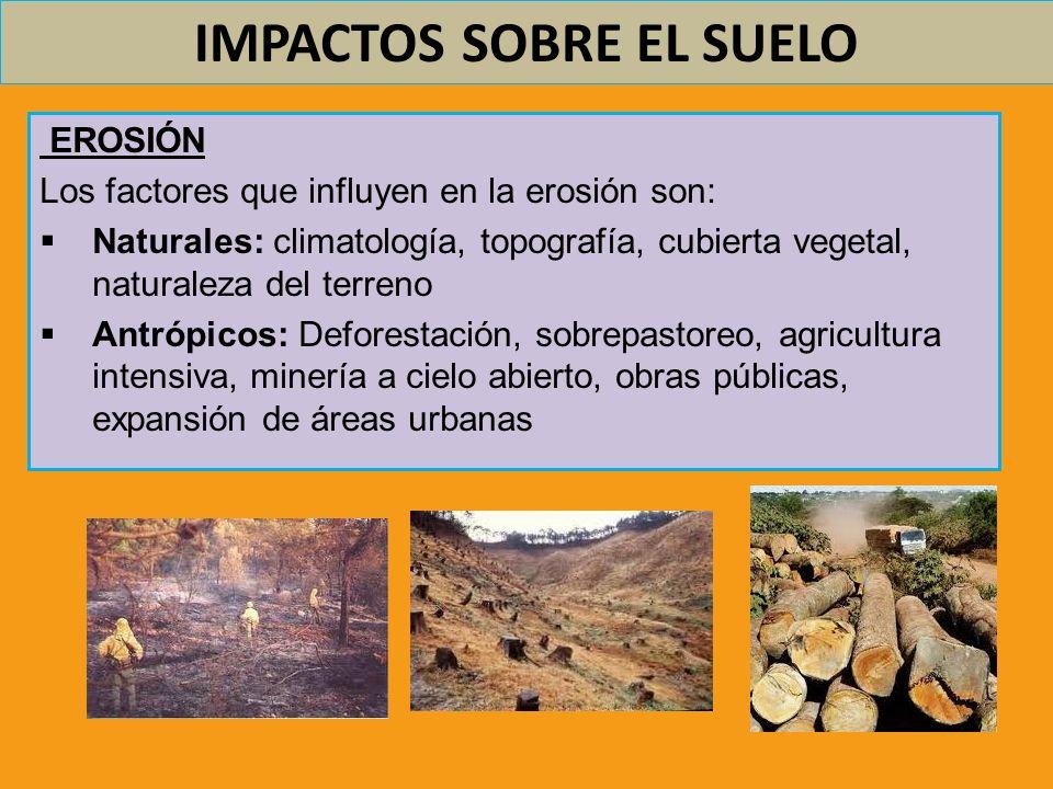 IMPACTOS SOBRE EL SUELO EROSIÓN Los factores que influyen en la erosión son: Naturales: climatología, topografía, cubierta vegetal, naturaleza del ter