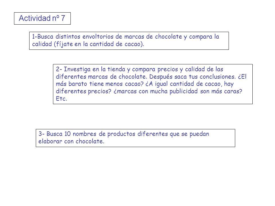 Actividad nº 7 1-Busca distintos envoltorios de marcas de chocolate y compara la calidad (fíjate en la cantidad de cacao). 2- Investiga en la tienda y