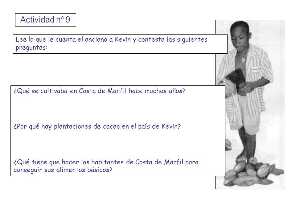 Actividad nº 9 Lee lo que le cuenta el anciano a Kevin y contesta las siguientes preguntas: ¿Qué se cultivaba en Costa de Marfil hace muchos años? ¿Po